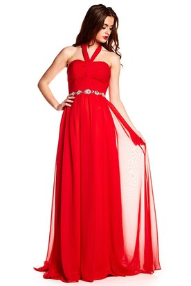 Floor-Length Sleeveless Halter Criss-Cross Chiffon Prom Dress
