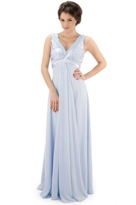 Maxi V Neck Ruched Chiffon Bridesmaid Dress With Pleats And Illusion