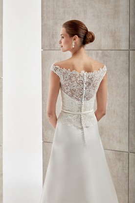 Jewel-Neck Cap-Sleeve Satin Wedding Dress With Lace Bodice