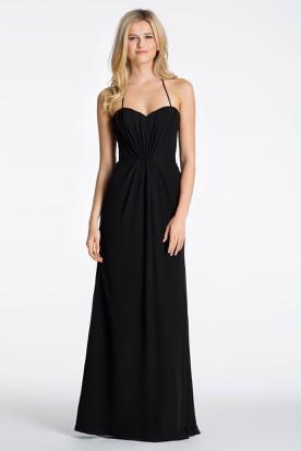 Spaghetti Ruched Sleeveless Chiffon Bridesmaid Dress With Straps