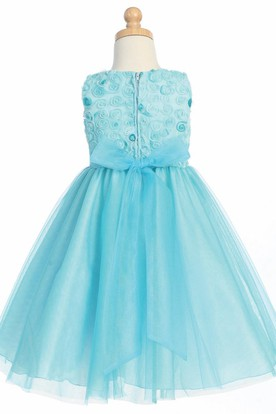 Tiered Embroideried Tulle Flower Girl Dress