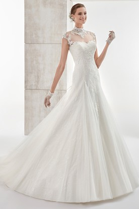 High-neck Cap-sleeve Wedding Dress with Lace Appliques and Illusive Design