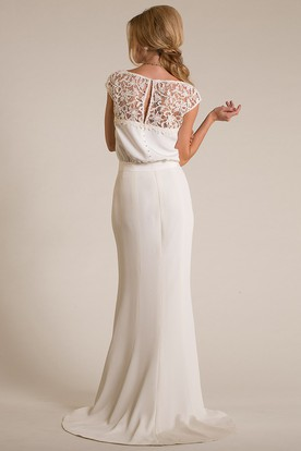 V-Neck Floor-Length Lace Cap-Sleeve Chiffon Wedding Dress With Brush Train