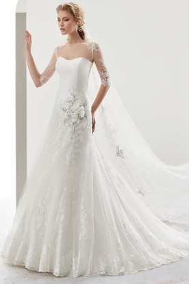 Illusion Half-sleeve Bridal Gown with Beaded Flower Embellishment and Jewel Neck