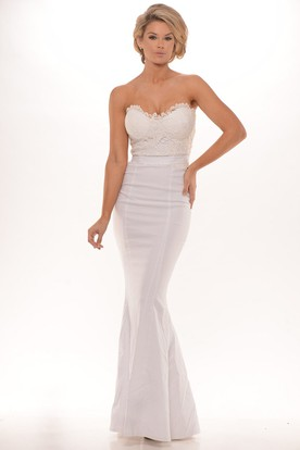 Sheath Sleeveless Lace Sweetheart Floor-Length Taffeta Prom Dress With Pleats