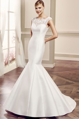 Scoop Long Lace Cap-Sleeve Satin Wedding Dress With Court Train And Keyhole