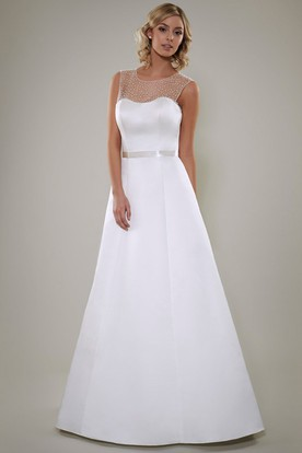 A-Line Scoop Floor-Length Sleeveless Beaded Satin Wedding Dress With Illusion Back