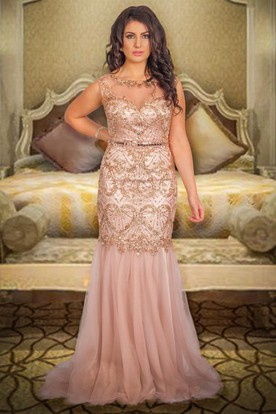 Long Scoop Beaded Tulle Prom Dress With Waist Jewellery