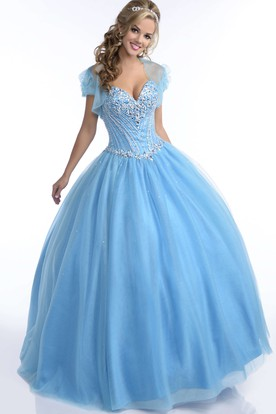Sweetheart Tulle Ball Gown With Lace-Up Back And Sequined Corset