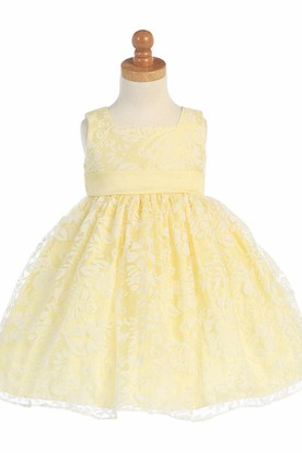 Floral Tea-Length Pleated Floral Empire Organza Flower Girl Dress With Sash