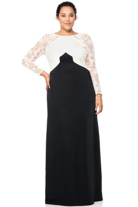 Scoop Neck Long Sleeve Chiffon Evening Dress With Illusion Back