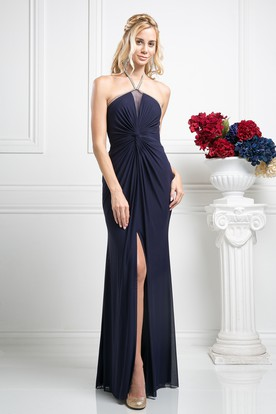 Sheath Maxi Halter Sleeveless Chiffon Dress With Split Front And Draping