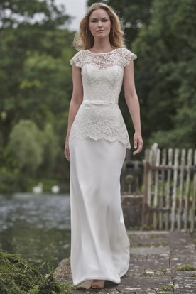Floor-Length Scoop Appliqued Cap-Sleeve Lace Wedding Dress With Peplum And Keyhole