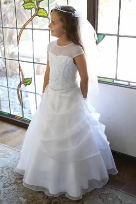 Tiered Draped Beaded Lace&Sequins Flower Girl Dress With Sequins