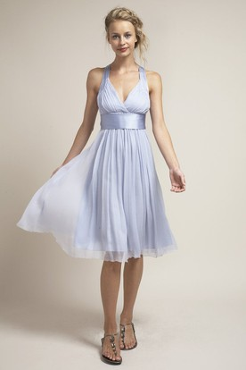 Knee-Length Ruched Sleeveless Halter Chiffon Bridesmaid Dress With Bow