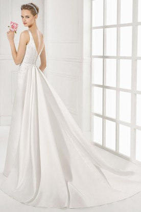 Maxi Jewel Beaded Satin Wedding Dress With Watteau Train And V Back