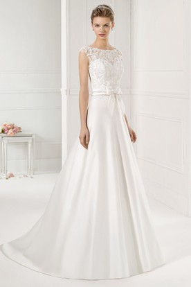 A-Line Bateau-Neck Cap-Sleeve Satin Wedding Dress