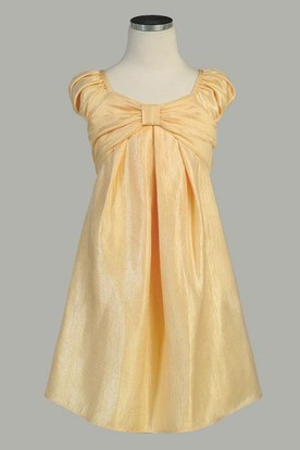 Midi Cap-Sleeve Ruched Satin Flower Girl Dress