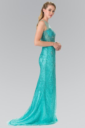 Sheath Long Scoop-Neck Sleeveless Sweep Train Illusion Dress With Beading
