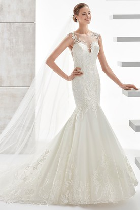 Jewel-Neck Sheath Lace Mermaid Wedding Dress With Illusive Design And Brush Train