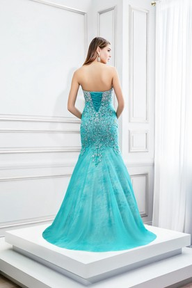 Mermaid Floor-Length Sleeveless Sweetheart Lace Tulle Prom Dress