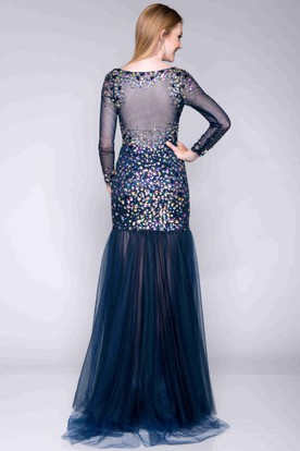 Long Sleeve V-Neck Sheath Prom Dress With Dropped Waistline