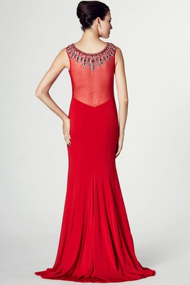 Beaded Bateau Neck Sleeveless Jersey Prom Dress With Brush Train