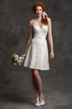 Sweetheart Short Appliqued Lace Wedding Dress With Beading And V Back