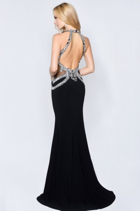 Sheath Maxi Jewel-Neck Sleeveless Jersey Straps Dress With Crystal Detailing