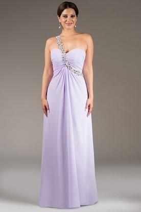 Crystal-Sash Single Strap A-Line Chiffon Long Bridesmaid Dress