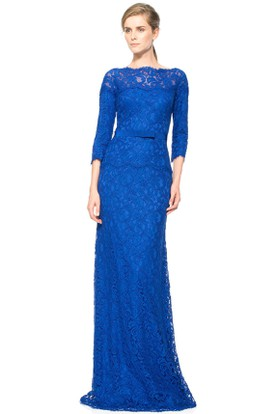 Sheath Long Embroidered 3-4-Sleeve Jewel-Neck Lace Evening Dress