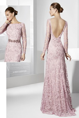 Sheath Embroidered Jewel-Neck Floor-Length Long-Sleeve Prom Dress