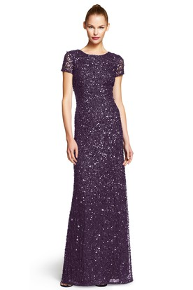 Sheath Scoop-Neck Short-Sleeve Sequins Bridesmaid Dress