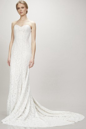 Maxi Sweetheart Lace Wedding Dress With Court Train And V Back