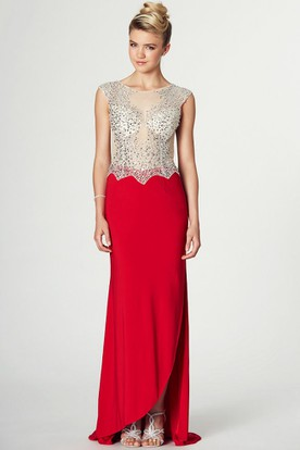 Split-Front Scoop Neck Cap Sleeve Jersey Prom Dress