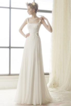 A-Line Sleeveless Floor-Length Lace Square Chiffon Wedding Dress With Low-V Back And Flower