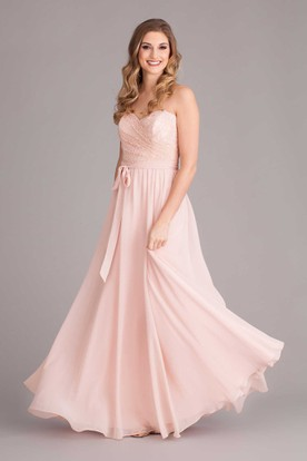 Maxi Sleeveless Lace Sweetheart Chiffon Bridesmaid Dress With Bow