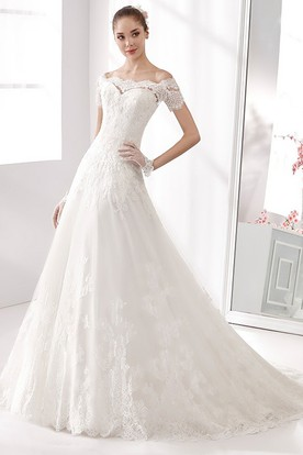 Off-shoulder A-line Wedding Dress with T-shirt Sleeves and Brush Train