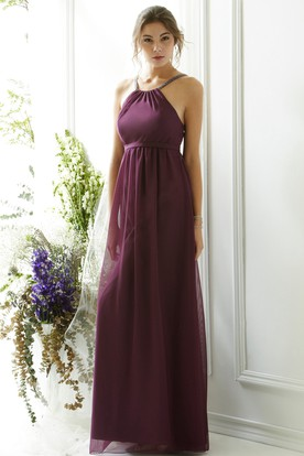 Sleeveless Halter Chiffon Bridesmaid Dress