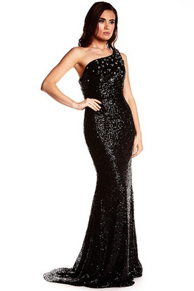 Sheath Sleeveless Floor-Length Crystal One-Shoulder Sequins Prom Dress With Brush Train