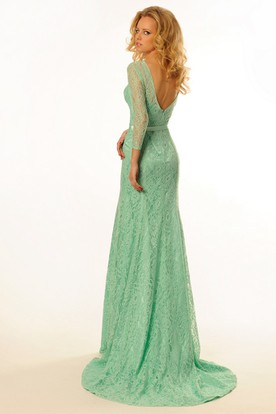 Maxi Ribboned Scoop Neck 3-4 Sleeve Lace Prom Dress With Brush Train