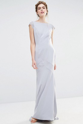 Sheath Jewel Neck Short Sleeve Chiffon Bridesmaid Dress With Brush Train