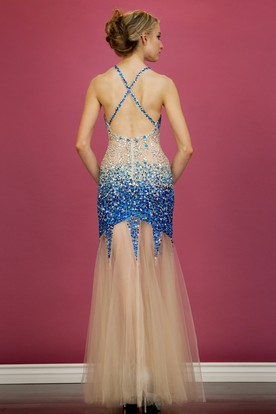 Sheath Floor-Length Spaghetti Sleeveless Tulle Sequins Dress With Beading