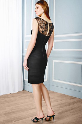 Short Pencil Scoop Neck Appliqued Sleeveless Chiffon Formal Dress