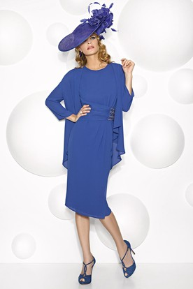 Tea-Length Long Sleeve Jeweled Scoop Neck Chiffon Mother Of The Bride Dress With Cape