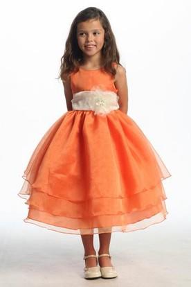 Tea-Length Tiered Organza Flower Girl Dress