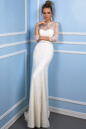 Sheath Ribboned Scoop Neck 3-4 Sleeve Lace Wedding Dress With Brush Train