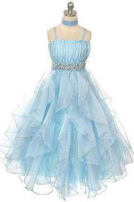 Cape Tiered Empire Pleated Organza Flower Girl Dress With Sash