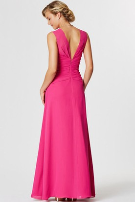 Sleeveless V-Neck Jeweled Chiffon Bridesmaid Dress With Draping
