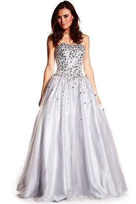 A-Line Sleeveless Floor-Length Sequined Sweetheart Tulle Prom Dress